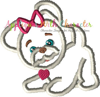 Furry Dog Applique Design