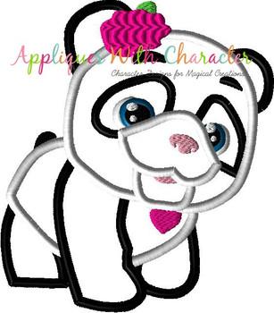 Furry Panda Applique Design