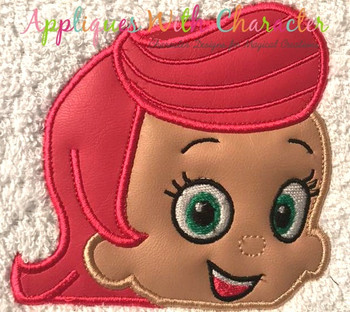 Bubble Girl Peeker Applique Design