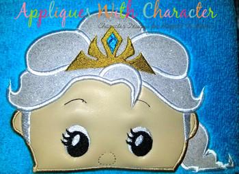 Frozen Elsa Tsum Peeker Applique Design