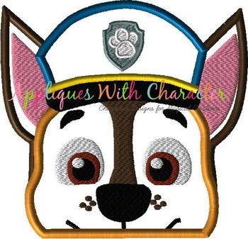 Pup Patrol Chase Peeker Applique Design