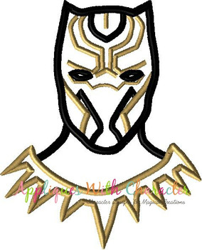 Black Panther Bust Applique Design