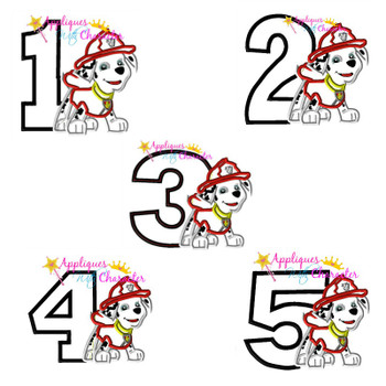 Pup Patrol Marshill One Two Three Four Five Set  Applique Design