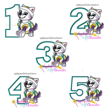 Pup Patrol Everi One Two Three Four Five Set  Applique Design