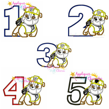 Pup Patrol Rubble One Two Three Four Five Set  Applique Design