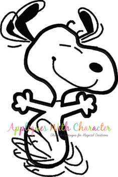 Peanuts White Dog Happy Dance Applique Design