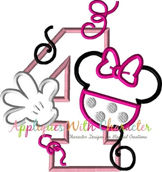 Miss Mouse Four Applique Design