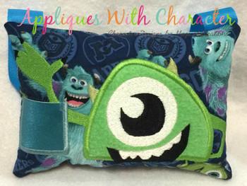 Green One Eyed Monster Peeker Applique Design