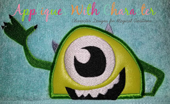 Green One Eyed Monster Peeker Applique Design