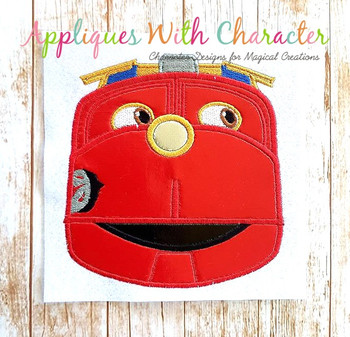 Chug Red Train Applique Design