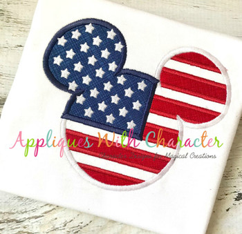 American Flag Mr Mouse Head Applique Design