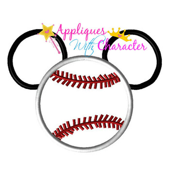 Mr Mouse Baseball Applique Design