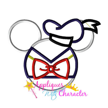 Don Duck Mr Mouse Ears Head Applique Design