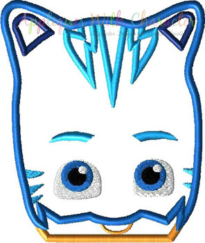 Hero Masked Cat Peeker Applique Design