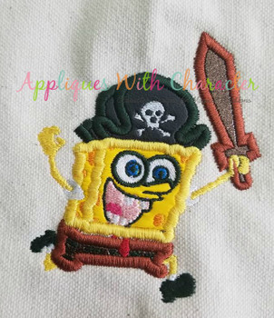 Sponge Bobby Pirate Applique Design