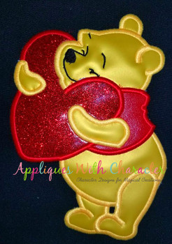 Honey Bear Holding Heart Applique Design