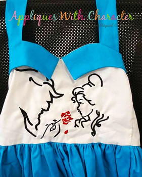 Beauty with Beast Silhouette Embroidery Design