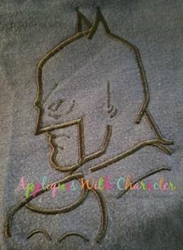 Bat Hero Silhouette Embroidery Design