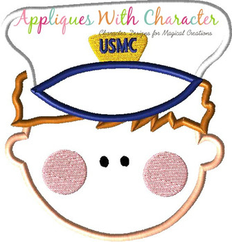 Marine Man Face Applique Design