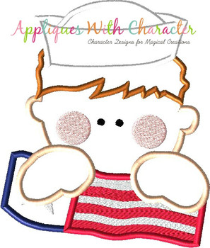Navy Man with American Flag Applique Design
