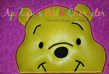Honey Bear Smile Peeker Applique Design