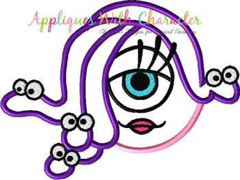 Monsters Girl Googly Eyes Full Face Applique Design