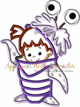 Monsters Little Girl Applique Design
