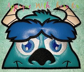 Blue Monster Peeker Applique Design