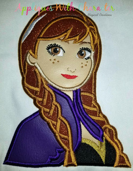 Frozen Anna Bust Applique Design