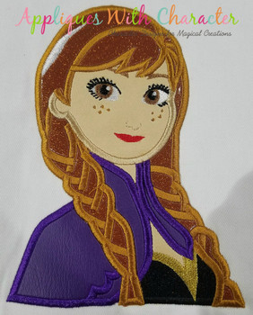 Frozen Anna Bust Applique Design
