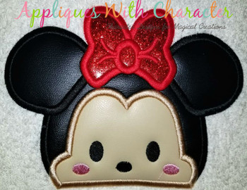 Miss Mouse Tsum Peeker Applique Design