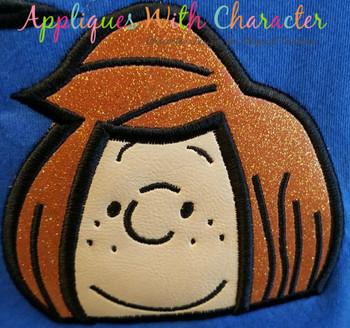 Peanuts Peppermint Patty Peeker Applique Design