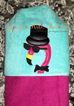 Mardi Gras Flamingo Peeker Applique Design