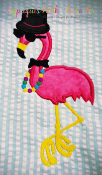 Mardi Gras Flamingo Applique Design