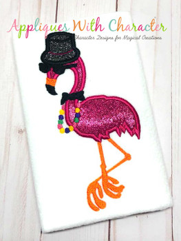 Mardi Gras Flamingo Applique Design