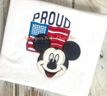 American Flag Mr Mouse  Proud Applique Design