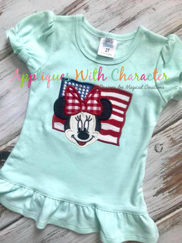 American Flag Miss Mouse  Applique Design