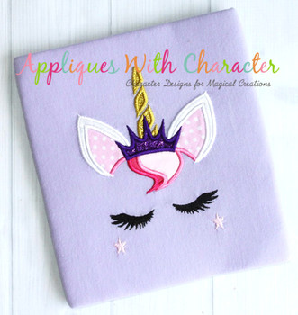 Unicorn Face with Crown Applique Design