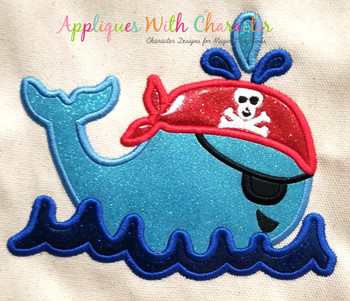 Pirate Whale Applique Design
