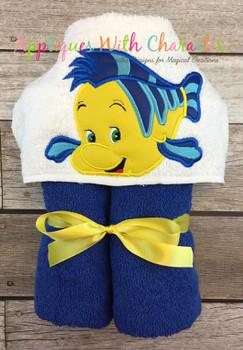 Mermaid Flounder Peeker Applique Design