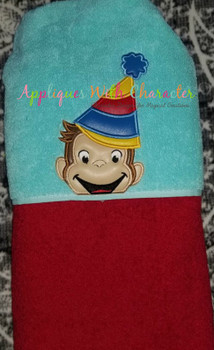 Curious Monkey Party Peeker Applique Design