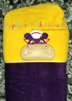 Doc Stuffins Hallie Hippo Peeker Applique Design