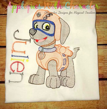 Pup Patrol Zoomy Sketch Embroidery Design