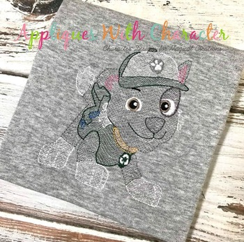 Pup Patrol Sketch Embroidery Design