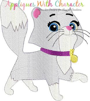 Pup Patrol Callie Cat Sketch Embroidery Design
