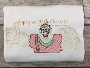 Wrecker Ralph Bean Bust Sketch Embroidery Design