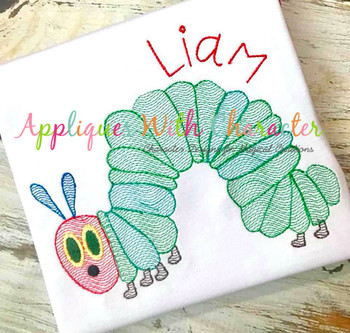 Caterpillar Sketch Embroidery Design
