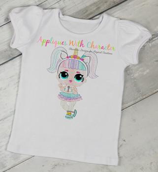 Unicorn Doll Sketch Embroidery Design