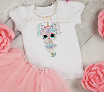 Unicorn Doll Sketch Embroidery Design