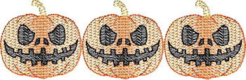 Halloween Jack-o-Lantern Pumpkin Three Sketch Embroidery Design